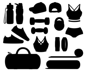 Black silhouette. Set of sports accessories and clothes. Women outfits. Icons for classes in the gym. Vector illustration isolated on white background
