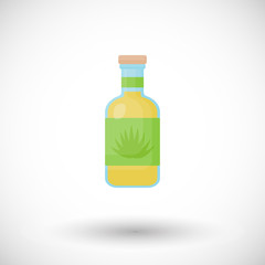 Tequila bottle flat vector icon