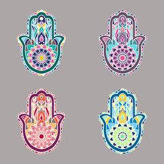 Set of colorful isolated hamsa hands illustrations
