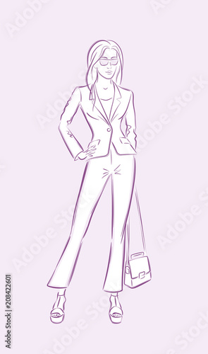 Fashion Model  Vector illustration of a posing female model in hand