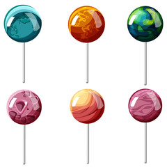 Colorful lollipops in shape of planets isolated on white.