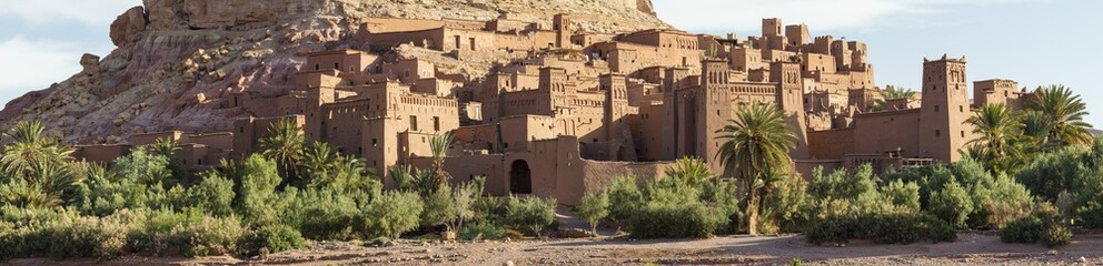 panorama of old fortress with building on the rock hill in Morocco
