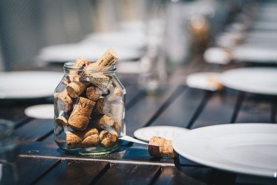 Cork decoration for a table. Rustic style. Wedding decoration