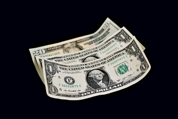 American dollar stock images. Paper banknotes on a black background. US paper bills. American banknote images