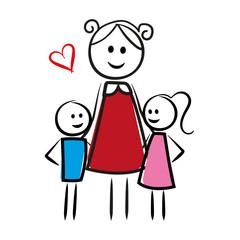 Frau umarmt ihre Kinder