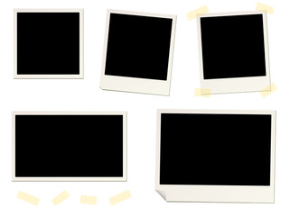 blank instant picture frame affixed with sticky tape