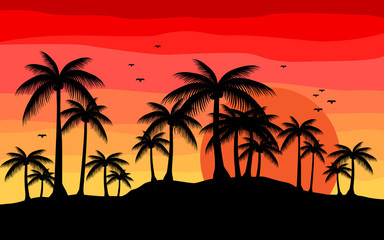 creative background with silhouette palm in sunset