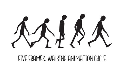 Walking animation cycle of a silhouette man, 5 framed. Frame by frame concept.