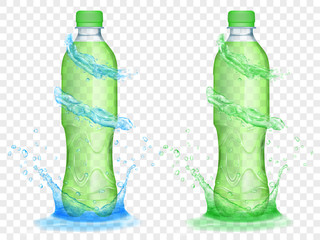 Two translucent plastic bottles filled with green juice, with light blue water crowns and splashes, isolated on transparent background. Transparency only in vector format