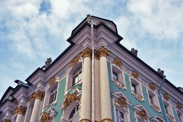 Old architecture of historical city center of Saint-Petersburg, Russia. Color photo.
