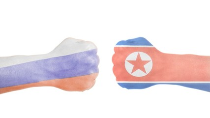 Fototapeta North Korean and Russian flags painted on two clenched fists obraz