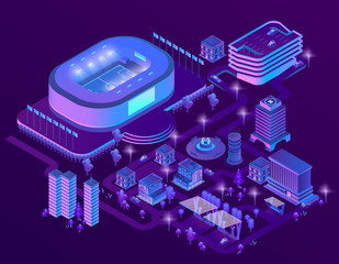 Vector 3d isometric megapolis with stadium. Sport arena in city in violet colors. Collection of skyscrapers, buildings with ultraviolet lighting. Streets with traffic - cars, automobiles