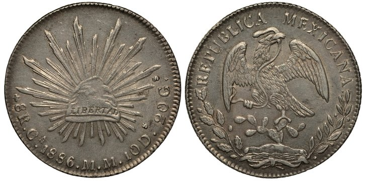 Mexico Mexican silver coin 1 one peso 1886, Phrygian cap with sign Liberty and diverging rays, eagle on cactus catching snake,