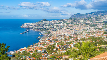 Wall Mural - Panoramic view over Funchal, from Miradouro das Neves viewpoint, Madeira island, Portuga