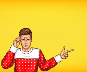 Pop art vector man indicating or pointing with finger sketch illustration. Young man in sweater and raised glasses points or indicates with hand finger to direction or information on yellow background