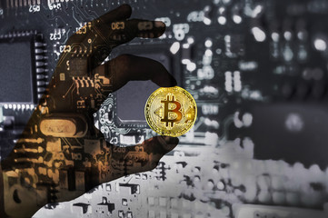 Bitcoin crypto currency Glass hand Binary code Golden Coin of Bitcoin in the Brown glass hand between two fingers shows OK sign on a chip background with matrix effect