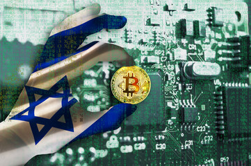 Bitcoin crypto currency Israel flag Binary code Golden Coin of Bitcoin in the Israeli flag hand between two fingers shows OK sign on a chip background with matrix effect