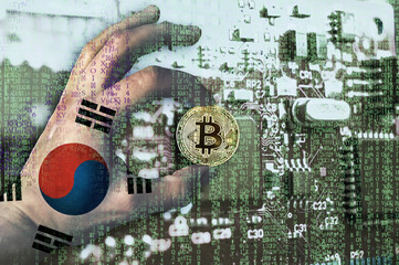 Bitcoin crypto currency Korea flag Binary code Golden Coin of Bitcoin in the South Korean flag hand between two fingers shows OK sign on a chip background with matrix effect