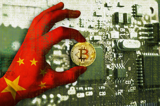 Bitcoin crypto currency China flag Binary code Golden Coin of Bitcoin in the People's Republic of China PRC flag hand between two fingers shows OK sign on a chip background with matrix effect