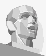 Geometric chopped human head, low poly vector object, vector design
