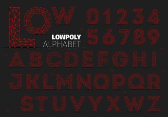 Low Polygon Wireframe Alphabet Set