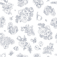 Seamless floral pattern with rose and pear, blue line on white. Hand drawn illustration for fabric, wrapping, prints