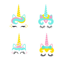 Cute unicorn face set.Unicorn head.Vector illustration.Cute illustration - card and shirt design.Cartoon eyelashes. Crown,bow decoration,super hero unicorn,kitty