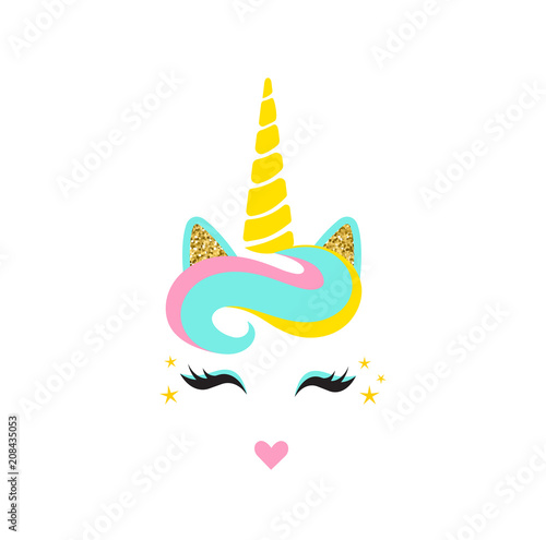 cute unicorn face with horn unicorn head vector illustration cute