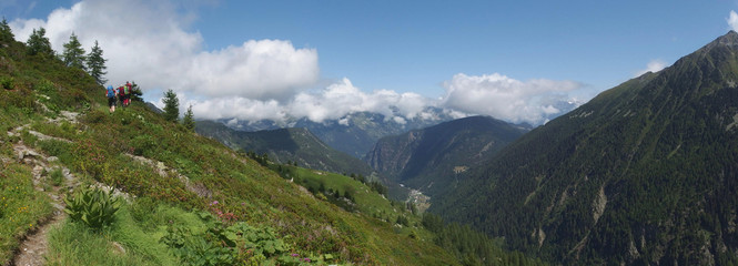 Alpy, Szwajcaria, Tour du Mont Blanc - na trasie z przełęczy Col de la Forclaz na przełęcz Col de Balme