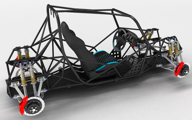 The frame frame of the sports car is a buggy with the basic design elements of the suspension and the pilot's seat.