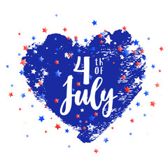 Independence day design. 4th of July USA greeting card. Hand drawn blue heart on white with little stars confetti. Vector card design. Greeting badge, emblem, card, poster, design element