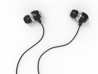 Modern in - ear headphones - top down view