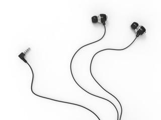 Modern small in - ear headphones - top down view