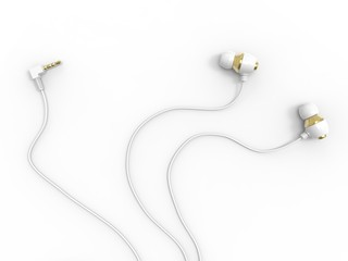 Modern white gold phone headphones - with audio jack