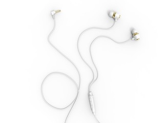 Modern white gold phone headphones - top down view