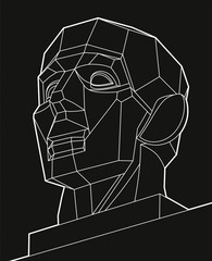 Geometric chopped human head, white lines face on black background. Low poly vector object, vector design