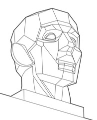 Geometric chopped human head, gray lines face on white background. Low poly vector object, vector design