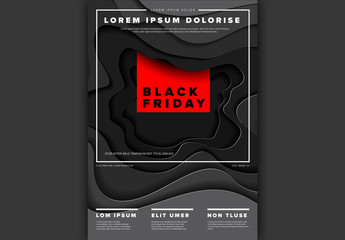 Black Friday Poster Layout with Paper Cut Out Elements