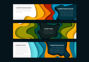 Web Banner Layout Set with Paper Cut Out Elements