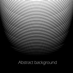 Square abstract background with striped halftone pattern in black and white colors. Texture of gradient semicircle line ornament. Design template of flyer, banner, cover, poster. Vector