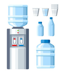Water cooler. Refreshment and bottle office, plastic and liquid. Transparent disposable cups with big and small water bottle. Vector illustration isolated on white background