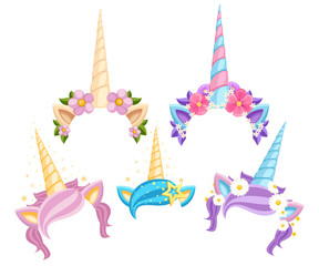 Collection of Unicorn tiaras with flowers and leaf. Vector fashion accessory headband. Vector illustration isolated on white background