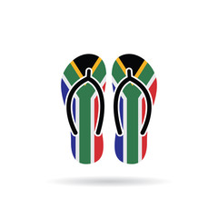 South Africa flag flip flop sandals icon on a white background.