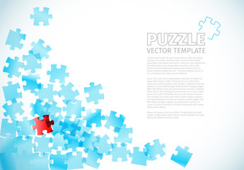 Overlapping Red and Blue Puzzle Piece Banner