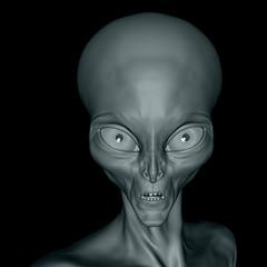 3D alien face close up on a black background