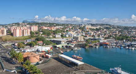 Fort de France view - skyline and volcano on the horizon - Caribbean tropical island - Martinique