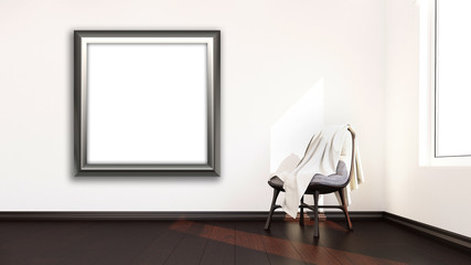 3D blank picture frame hanging on a wall of a modern room interior