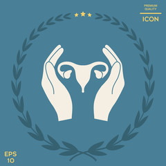 Hands holding Female uterus - protection icon