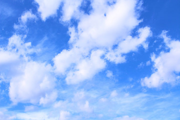 Beautiful blue sky and white cirrus clouds. Landscape. Background.
