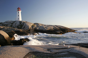 Peggys Cove Lighthouse and Waves